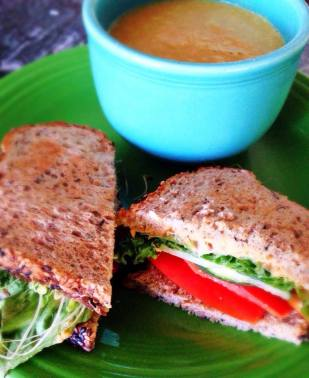 sprouts, tomatoes, grilled tofu sandwich with carrot soup